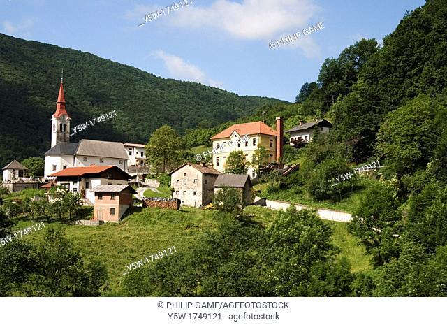 Village beside the Sava River, western Slovenia, Central Europe
