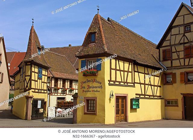 Eguisheim, Joseph Freudenreich and sons wine cellar, Alsace Wine Route, Cellar, Haut-Rhin, Alsace, France, Europe