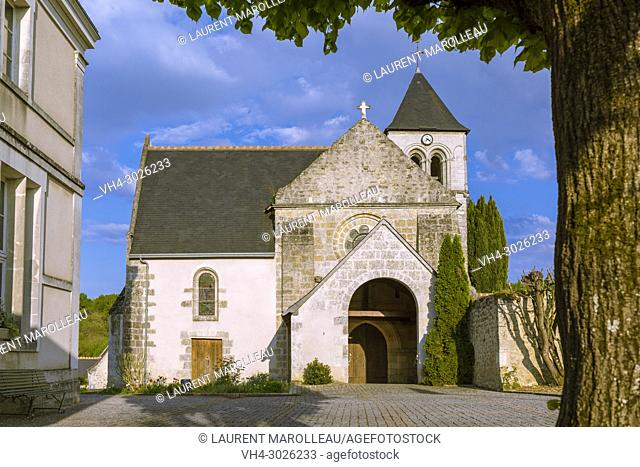 Saint-Martin-de-Vertou Church of Saché. Canton of Chinon, Indre-et-Loire Department, Centre-Val de Loire Region, Loire valley, France, Europe