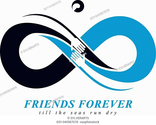 Friends Forever, everlasting friendship, beautiful vector logo combined with two symbols of eternity loop and human hands