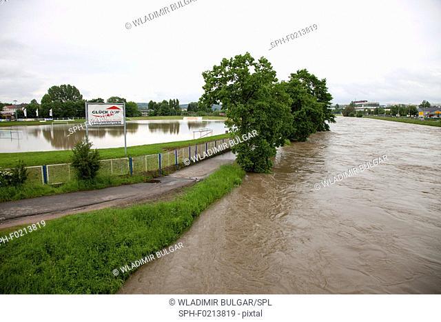 Flooded sports pitch, Gera, Germany, 2016