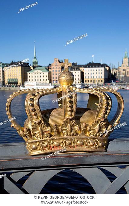 Royal Crown on Skeppsholm Bridge with Old Town behind; Stockholm; Sweden