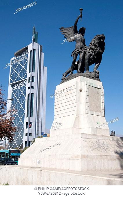 Telefonica Chile building behind the Italian heroes' monument, Santiago