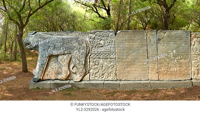 Pictures & images of the North Gate ancient Hittite stele stone slabs with stele of Hittite Gods, mythical beasts and lion as well as carvings of the Phoenician...