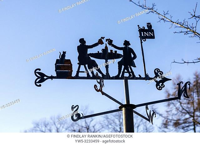 "Weather vane at the Robert Burns museum, Alloway, Ayr, Scotland, with the style from the Bard's famous poem """"Tam O'Shanter"""""