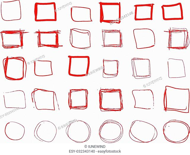 Hand drawn red squares and rounds set, check mark icons, vector eps8 collection