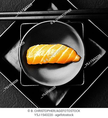 Salmon sushi on plate