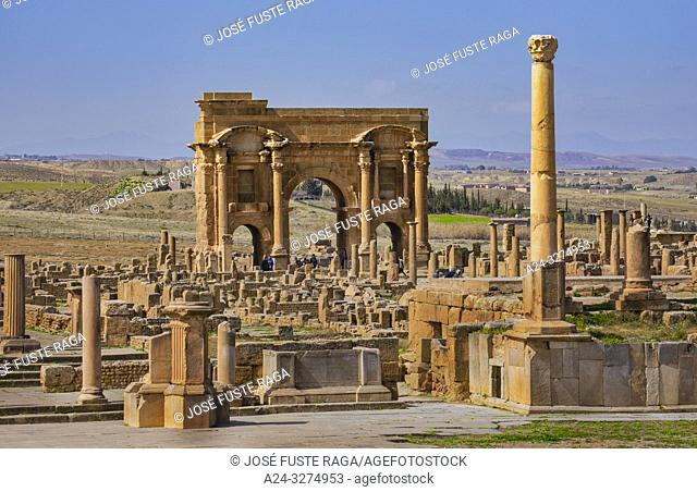 Algeria, Timgad City, Roman ruins of Timgad, UNESCO, (W. H. ), Trajan's Arch