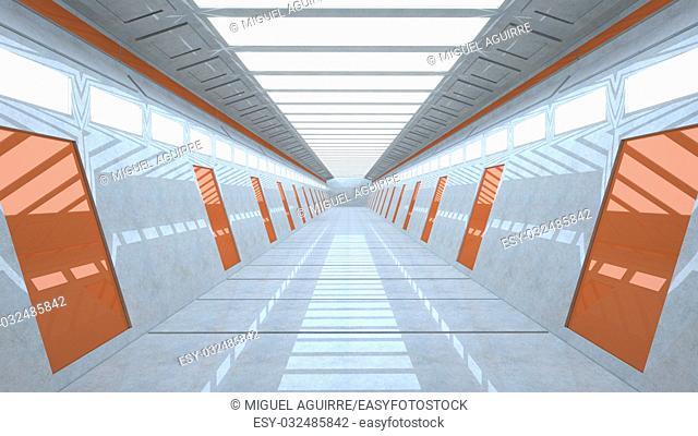 3d rendering. Futuristic interior structure