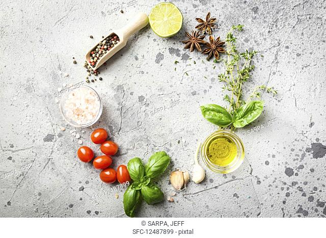 Circle of food ingredients, herbs and spices