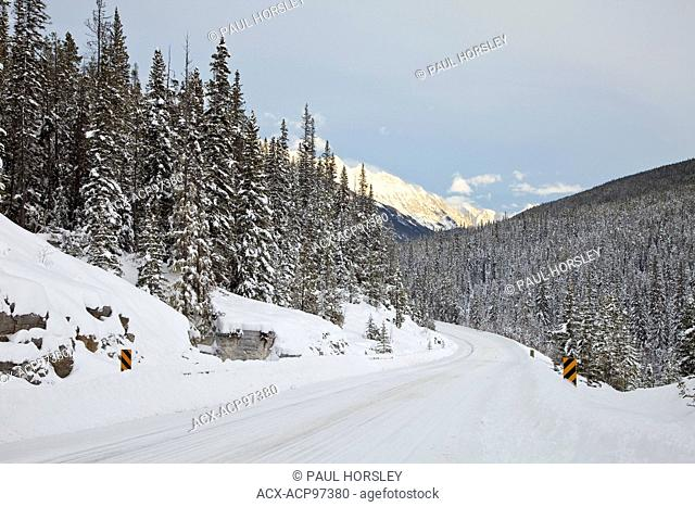 Snow covered mountain sign, Alberta, Canada