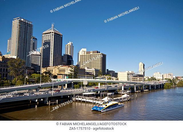 City Cat pier from Victoria Bridge in the Brisbane River, Brisbane, Australia