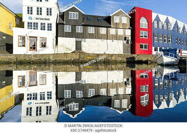 Peninsula Tinganes with the atmospheric old town. Torshavn (Thorshavn) the capital of the Faroe Islands on the island of Streymoy in the North Atlantic
