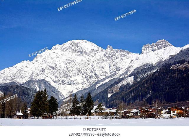 Austria, winter in Salzburg county with Leoganger Steinberge range