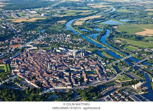 France, Meurthe et Moselle, Toul, city center, the Cathedral Saint Etienne, Vauban fortification and Moselle (aerial view)