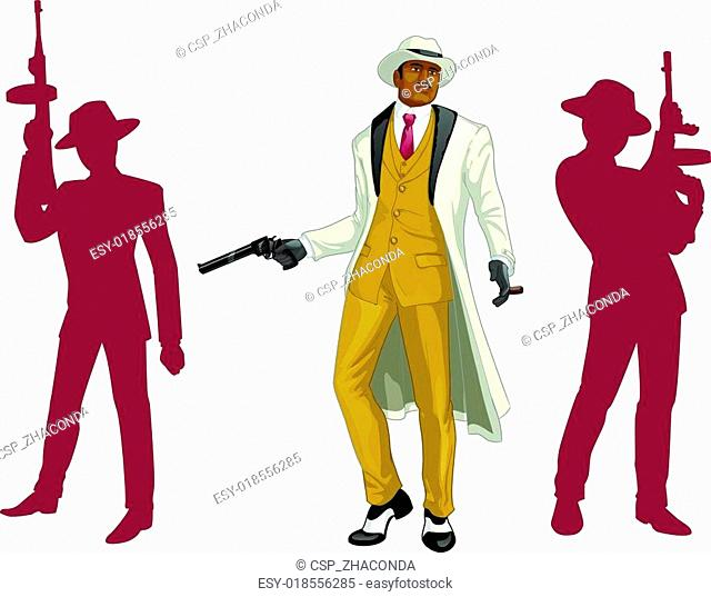 Afroamerican mafioso godfather with crew silhouettes