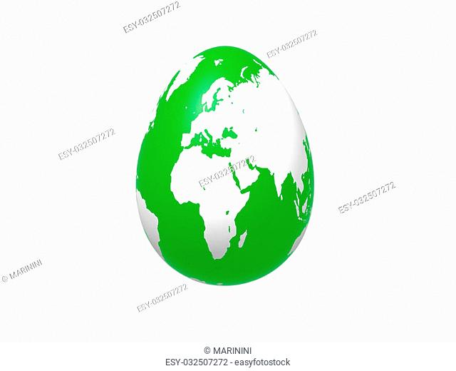 3d green egg with earth texture over white background, isolated