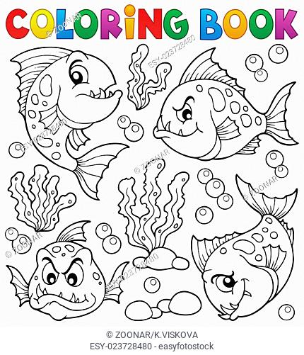 Coloring book piranha fishes theme 1 - picture illustration