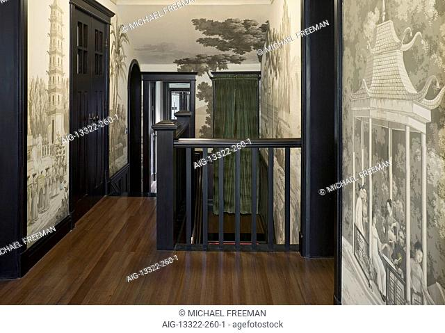Recently restored 1930s British colonial residence in the French Concession district of Shanghai. Hallway and landing features hand-painted Chimoiserie...