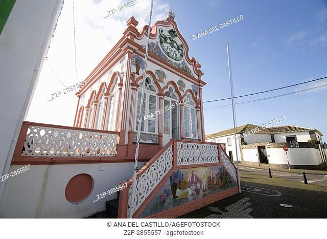 Temple of the Holy Spirit (Imperio) at Sao Sebastiao typical village in Terceira island Azores Portugal on January 9, 2017