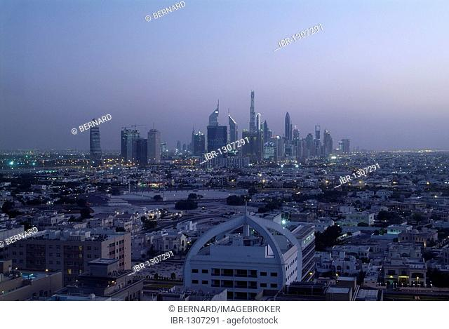 Skyline of Dubai at dusk, Emirate of Dubai, United Arab Emirates, Middle East