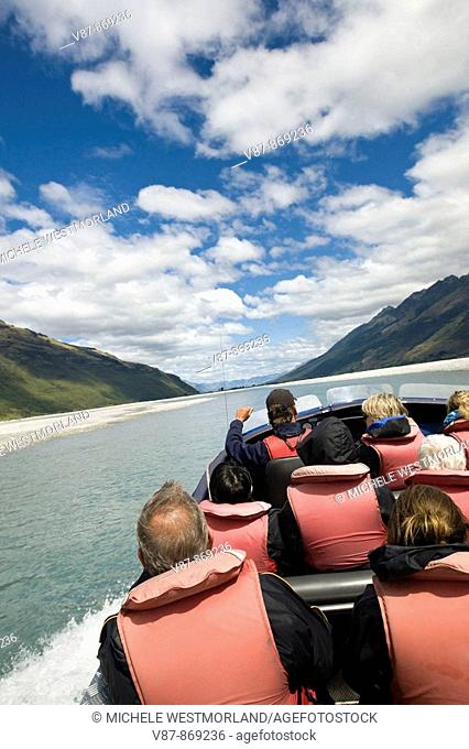 Jet Boat trip on the Dart River near Glenorchy  North end of Lake Wakatipu  South Island, New Zealand  NR