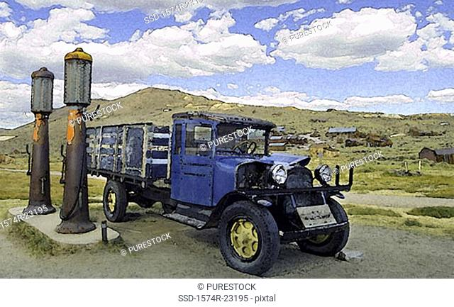 Flat bed truck at a gas station, Bodie State Historic Park, California, USA
