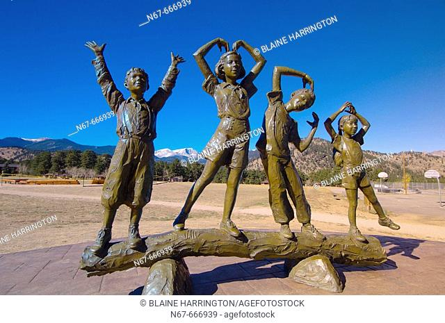 A sculpture of children spelling out YMCA at the YMCA of the Rockies camp, Estes Park, Colorado USA