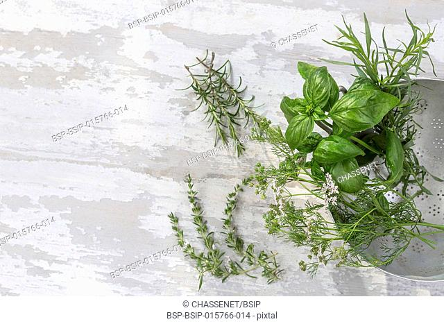 Aromatic herbs and spices from garden, healthy cooking from above