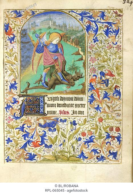 St George and the dragon Miniature and text Prayers to St George. The saint slaying the dragon with landscape and a town in the distance