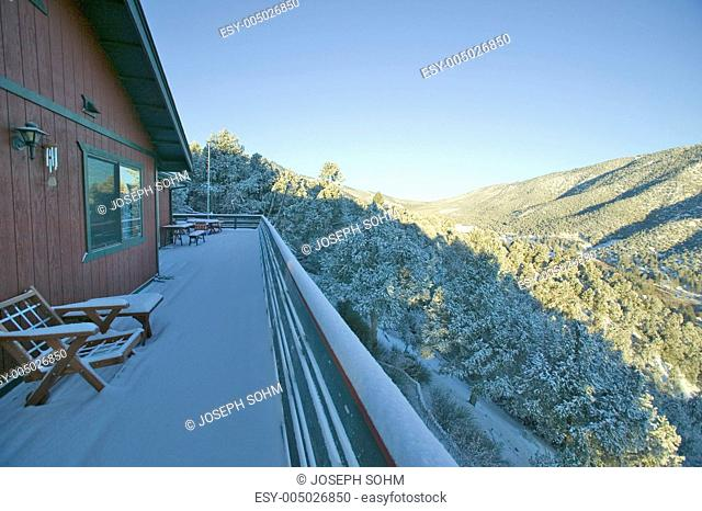 Rear deck landscape view from photographer Joseph Sohms house after fresh snow in Pine Mountain Club, Kern County, Southern California