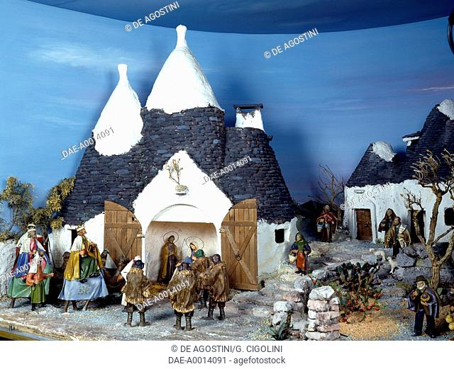 Nativity, papier-mache nativity scene set in Alberobello, Apulia, Italy.  Brembo Di Dalmine, Museo Del Presepio (Wooden Crib Figures)