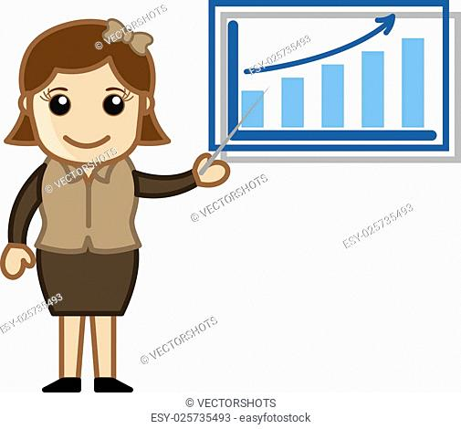 Woman Showing Company Stats - Cartoon Business Vector Illustrations