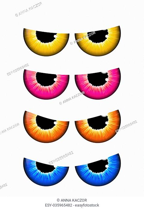 spooky eyes set vector design isolated on white background
