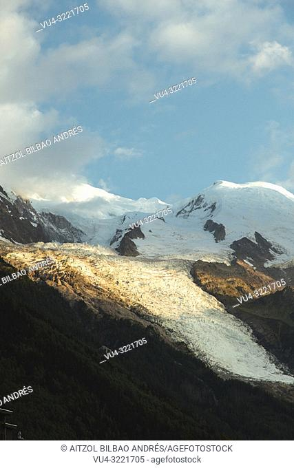 The Bossons Glacier is one of the larger glaciers of the Mont Blanc massif of the Alps, found in the Chamonix valley of Haute-Savoie département