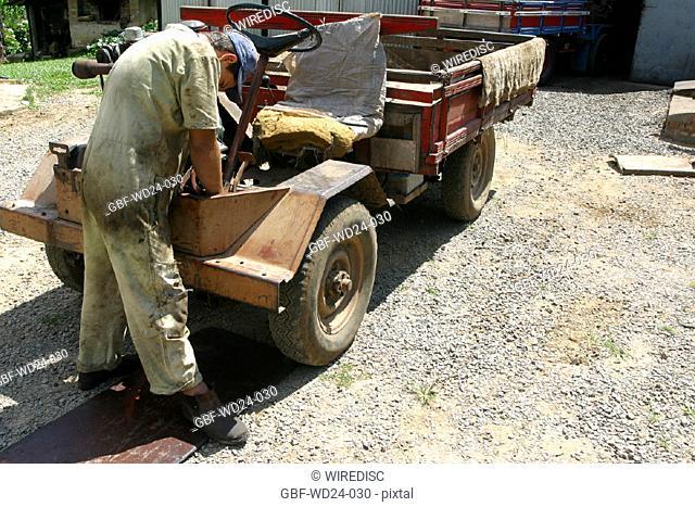 Man, mechanic, truck