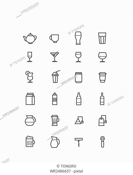 Set of various line icons related to drinks