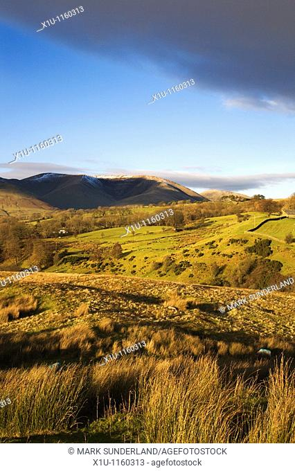 Great Dummocks with Yarlside beyond Howgill Fells from Garsdale Yorkshire Dales England