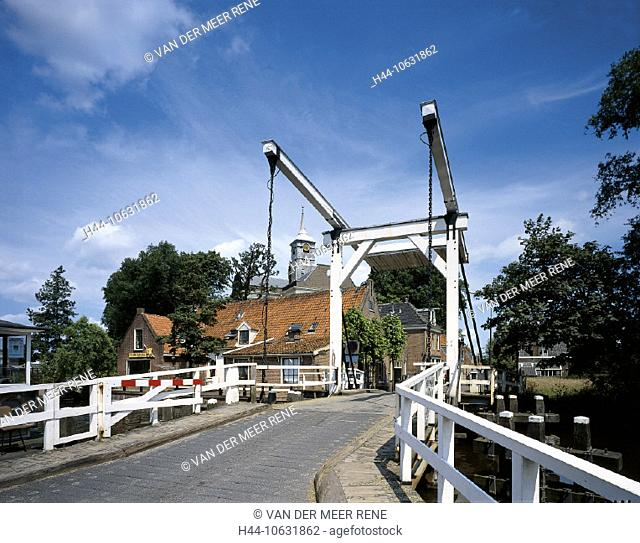 10631862, Amstel, bridge, village, river, flow, Holland, church, Netherlands, Ouderkerk, drawbridge