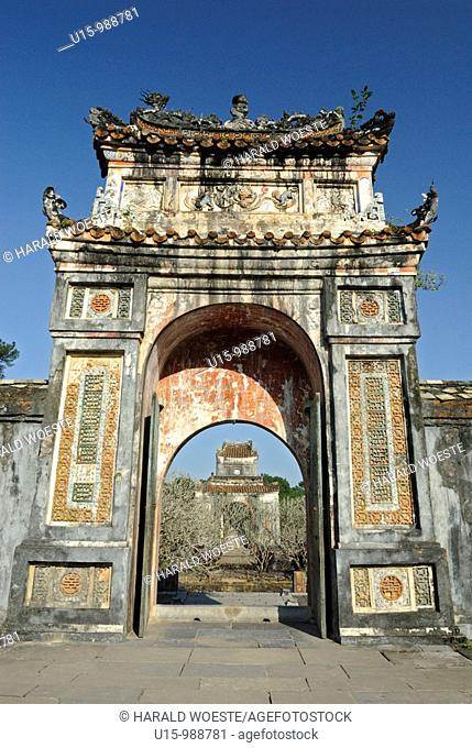 Asia, Vietnam, Hue  Gate from mausoleum to pavillion at the royal tomb of Tu Duc  Designated a UNESCO World Heritage Site in 1993