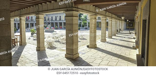 Porticoed main Square in Herreriano Style of Brunete. Madrid, Spain