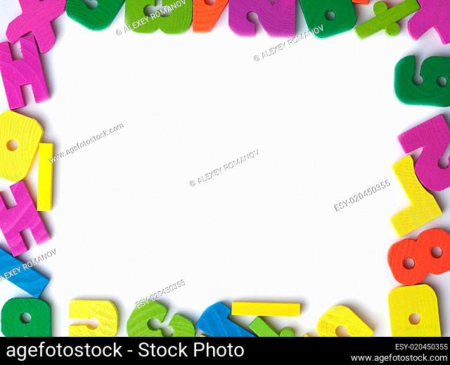 Blank frame of colored wooden toy figures