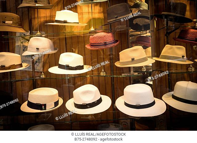 Display of hats in hat shop. Barcelona, Catalonia, Spain