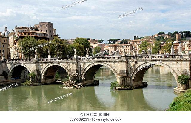 Tiber River and Saint Angel Bridge seen from Castel San angelo, Rome in Italy