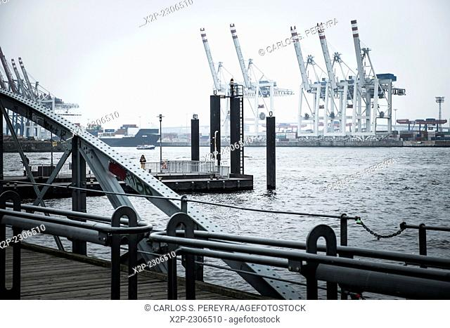 View of Hamburg harbor from St. Pauli district, Germany