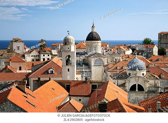 Croatia, Dalmatia, Dalmatian Coast, Dubrovnik, historical centre listed as World Heritage by UNESCO, city rooftops and the dome of the Assumption cathedral
