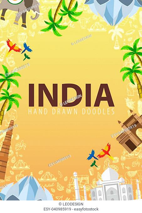 India travel banner. Indian Hand drawn doodles on background. Vector illustration