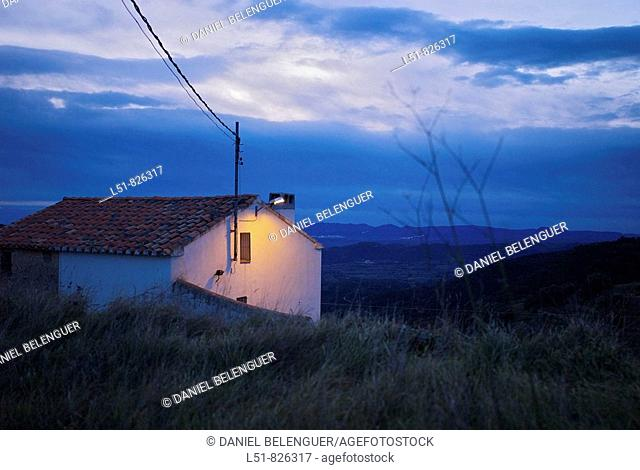 House at dawn, Benafigos, Castellón, Comunidad Valenciana, Spain, Europe