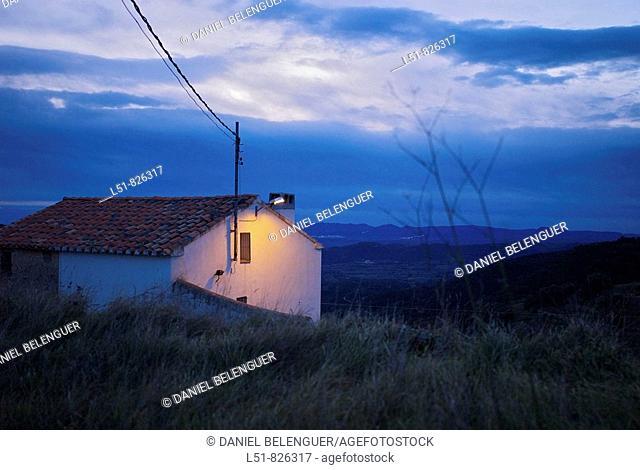 House at dawn, Benafigos, Castellón, Comunidad Valenciana, Spain, Europe