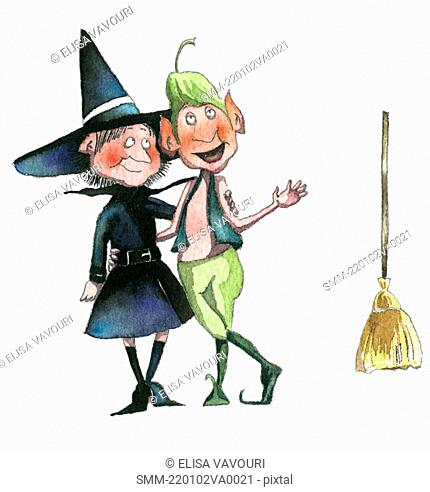 Witch and elf with arms around each other